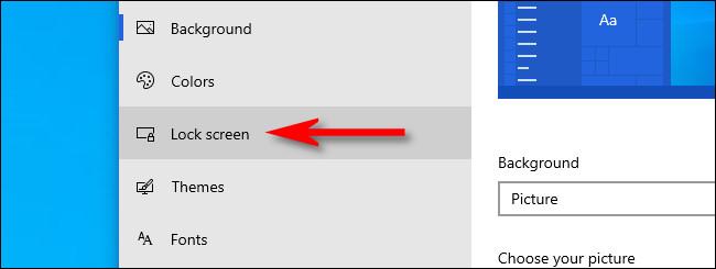 "In Windows Personalization settings, click ""Lock screen"" in the sidebar."