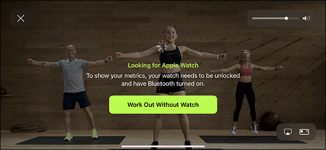 exercise without a watch apple fitness + option