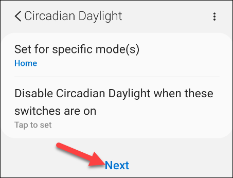 select modes and switches to disable the smart app