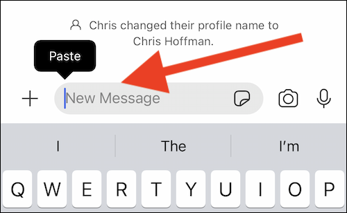 """Paste a link into the """"New Message"""" text box"""