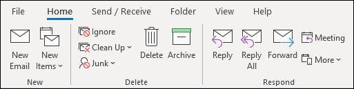The classic ribbon in the Outlook desktop app.