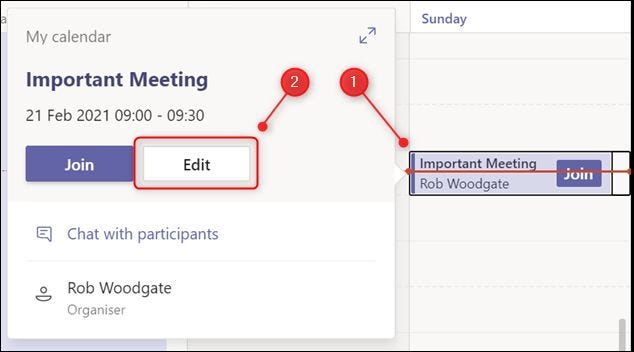 The Edit button for a meeting in the Teams calendar.