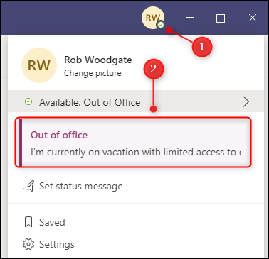 An Outlook Out of Office message displayed in Teams.