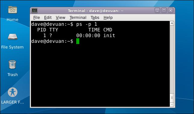 Devuan Linux desktop with a terminal window open