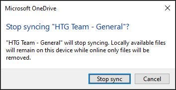 """The """"Stop syncing"""" confirmation dialogue."""