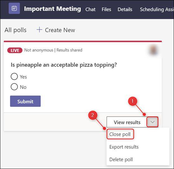 "The ""Close poll"" option."