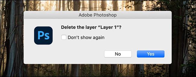 photoshop showing delete layer warning