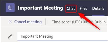 "The ""Chat"" tab in the meeting details."
