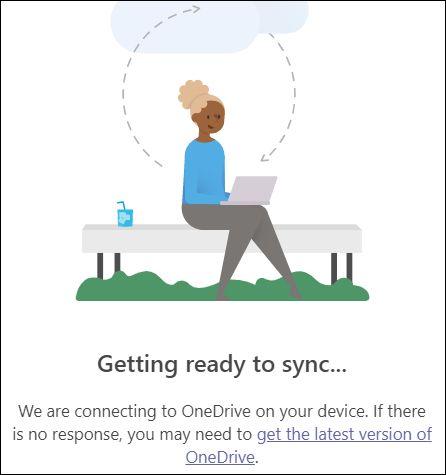 Il pannello che mostra Teams si sta connettendo a OneDrive.