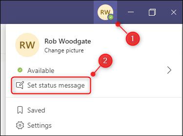 "The ""Set status message"" menu option."