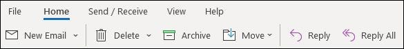 The simplified ribbon in the Outlook desktop app.