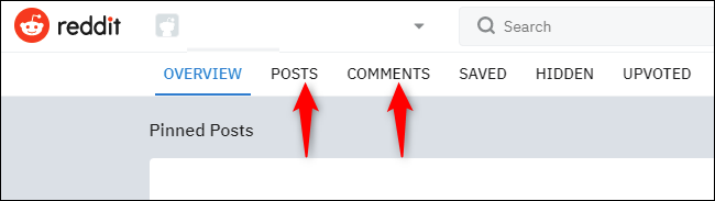 """Click """"Posts"""" and click """"Comments."""""""