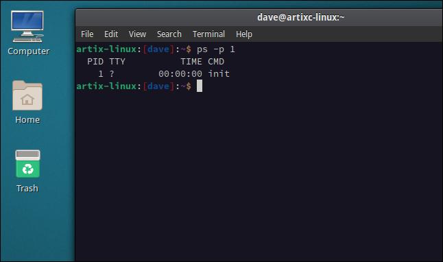 Artix Linux desktop with a terminal window open
