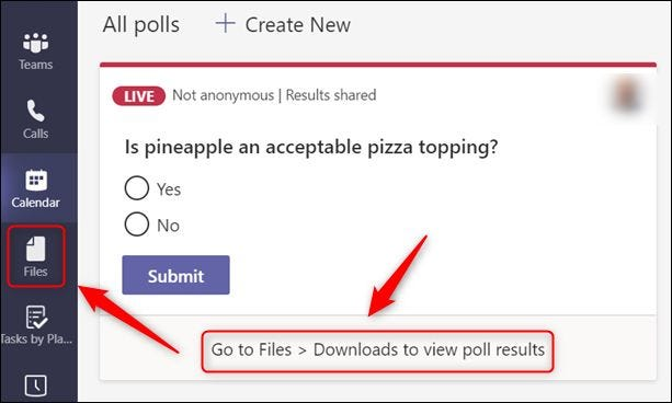 """The """"Files"""" option in the Teams sidebar."""