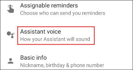 select assistant voice