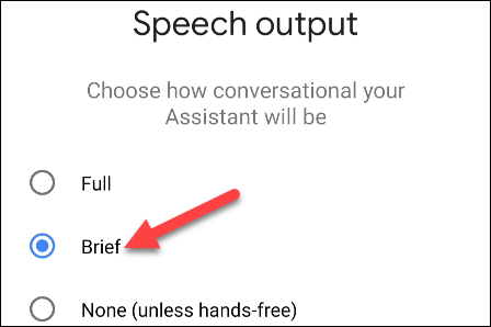 choose a speech output