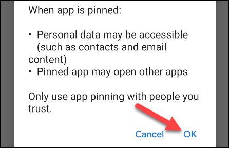 """accept the pop up message by tapping the """"OK"""" button"""