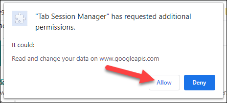 allow permissions to proceed