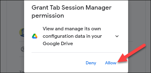 allow the extension to access its data in drive