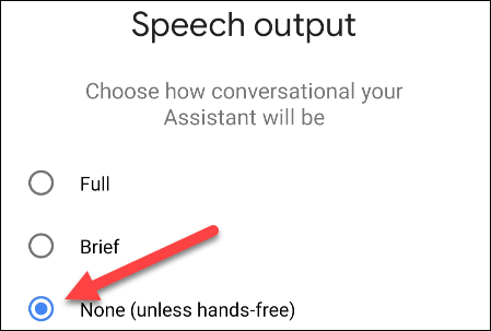 select None for speech output