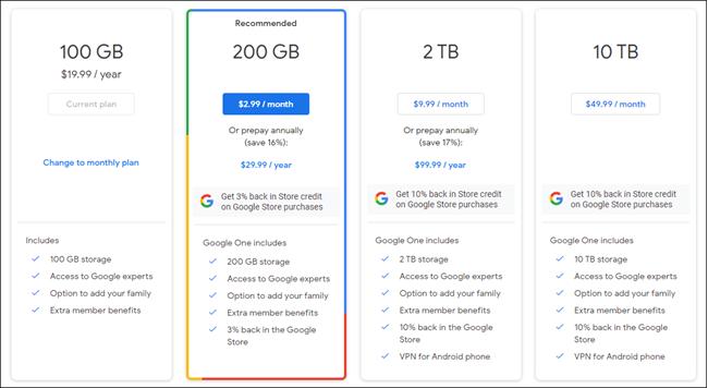 planos do google one