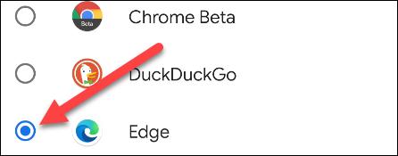 selecione Edge na lista