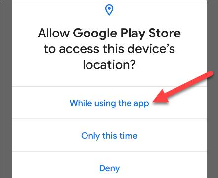 select a location permission