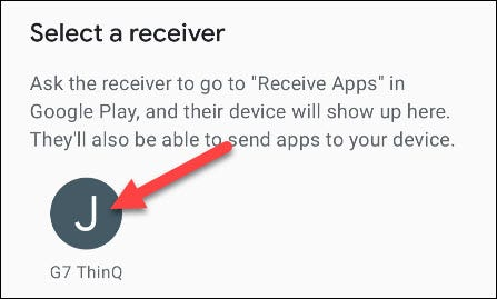 select the receiving device