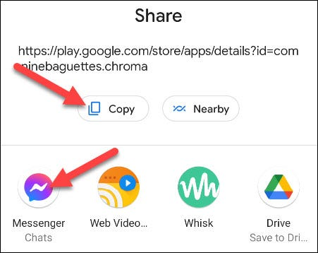 copy the URL or select an app
