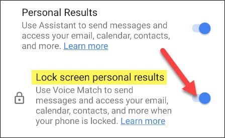 attiva i risultati personali per la schermata di blocco
