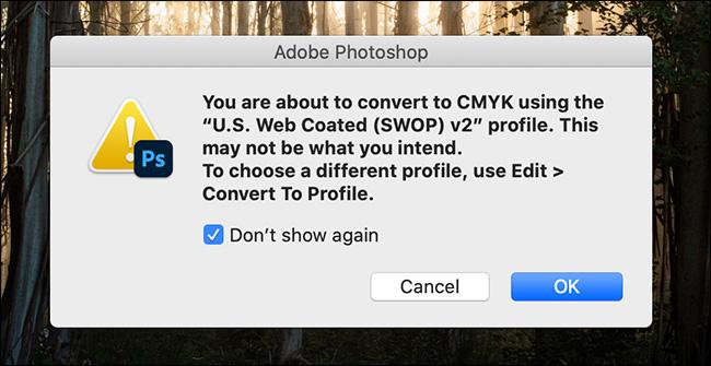 change alert dialog for color profiles