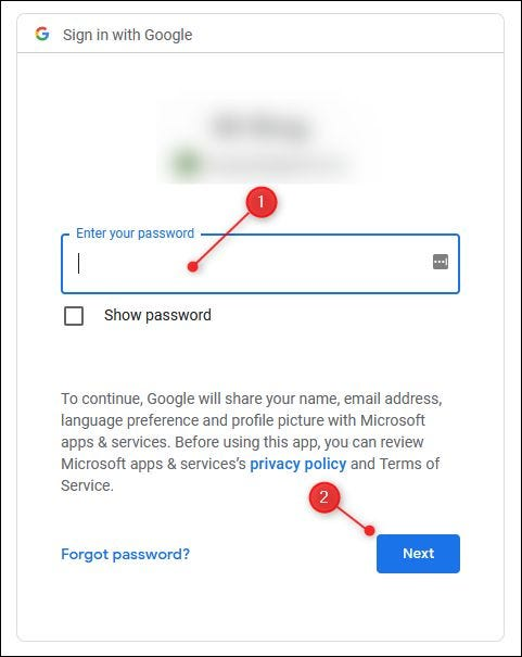 The Gmail password field.