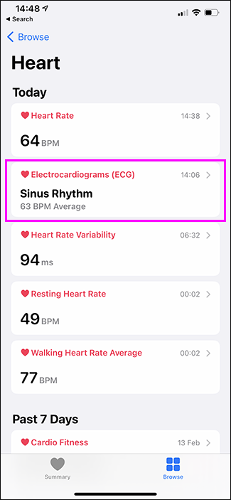 health app showing ECG option highlighted