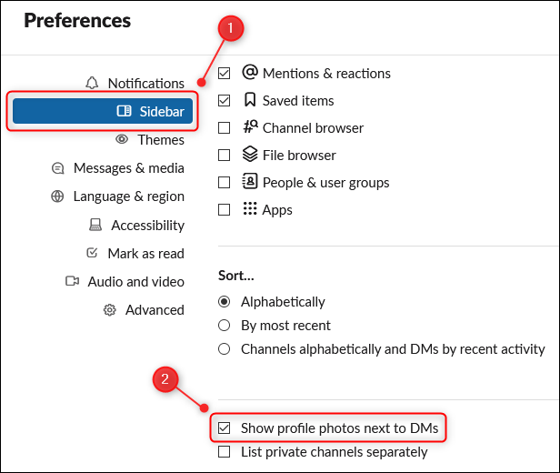 "The ""Show profile photos next to DMs"" option in the Preferences panel."