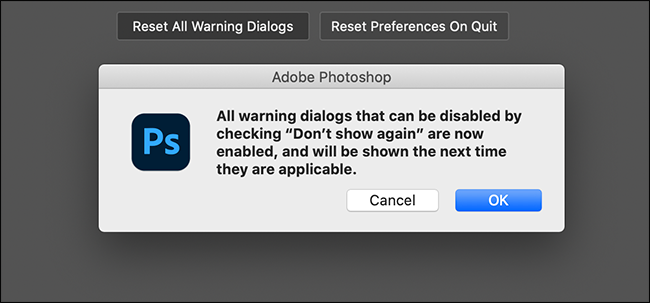 confirm reset warning dialog boxes option
