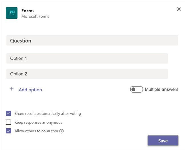 "The ""Forms"" panel before a question is added."