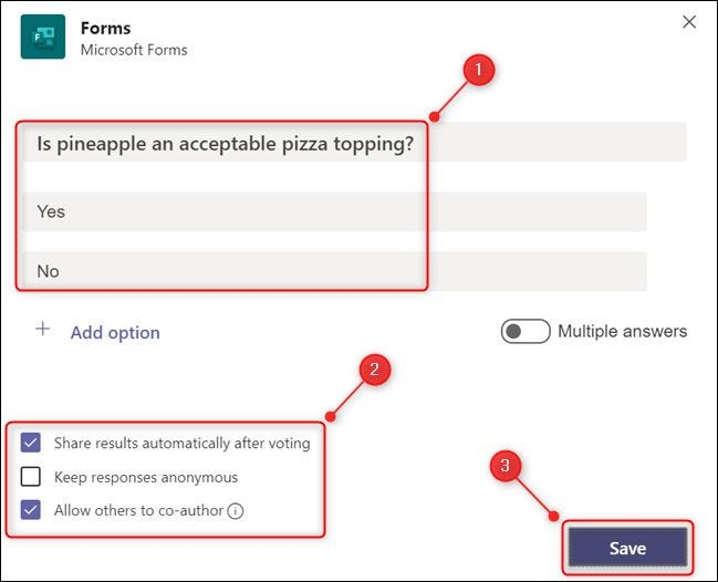 """The """"Forms"""" panel with a question added."""
