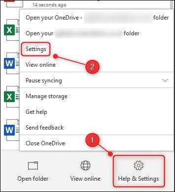 "The OneDrive ""Settings"" menu option."