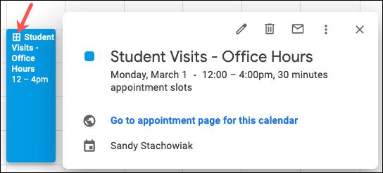 Bloco de compromissos no Google Agenda