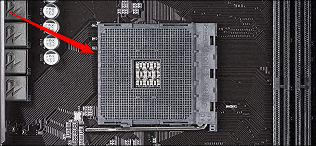 Close-up of a CPU socket on an AMD compatible card.