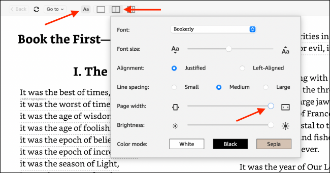 Change Page Width in Kindle App
