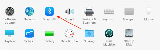Scegli Bluetooth da Preferenze di Sistema