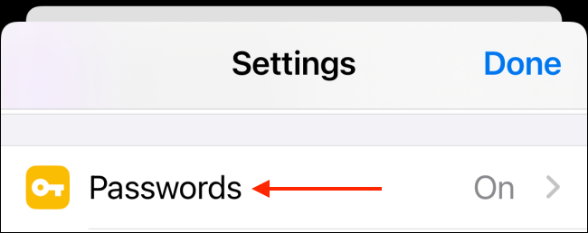 Choose Passwords from Settings