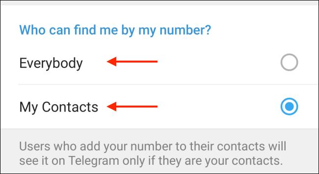Scegli chi può trovarti su Telegram