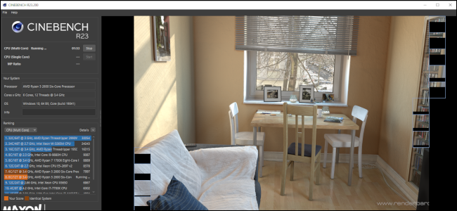 Cinenbench R23 running a test by rendering an image of a table and chairs with a couch in the foreground.