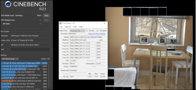 Cinebench running an image rendering test with a Core Temp window running alongside it.