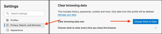 Clear Data from Microsoft Edge