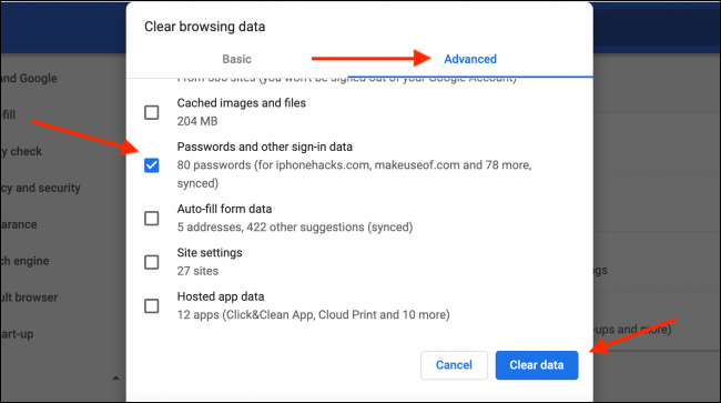 Clear Passwords Data from Chrome