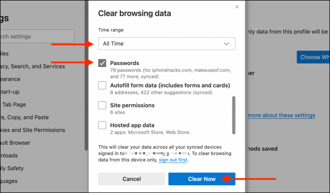 Clear Passwords from Microsoft Edge