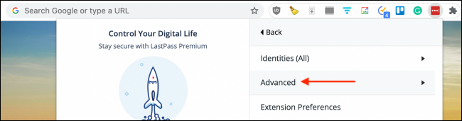 Click Advanced from LastPass Extension